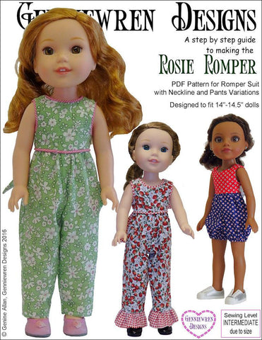 "Genniewren WellieWishers Rosie Romper 14-14.5"" Doll Clothes Pattern Pixie Faire"