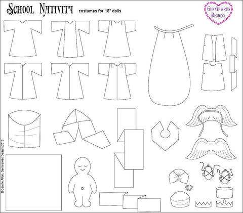 "School Nativity 18"" Doll Clothes"