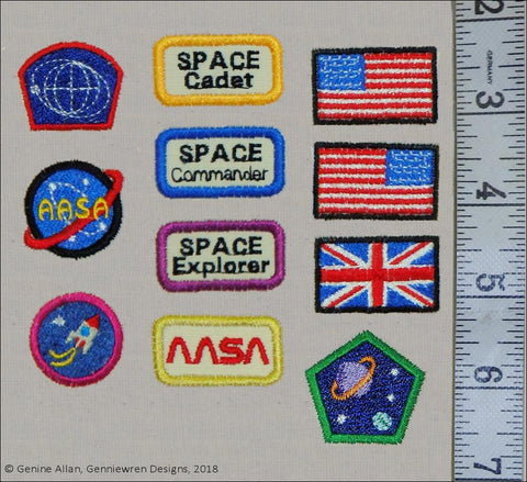 Mini Space Patches Set 1 Machine Embroidery Designs