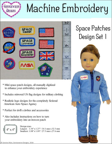 Genniewren Designs Mini Space Patches Set 2 Machine Embroidery Designs For Doll Clothes Pixie Faire