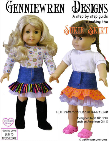 "Sukie Denim Ra-Ra Skirt 18"" Doll Clothes"