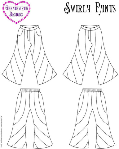 "Swirly Pants 18"" Doll Clothes Pattern"