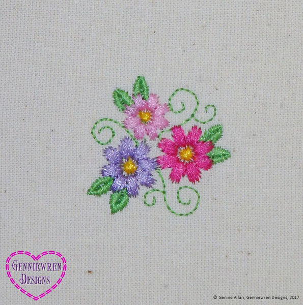 Genniewren Designs Free Three Flowers Machine Embroidery