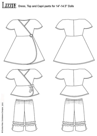 "Lizzie Dress, Top and Capris 14-14.5"" Doll Clothes Pattern"
