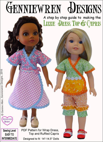 Lizzie Dress, Top and Capris for WellieWishers and Hearts For Hearts Girls Dolls