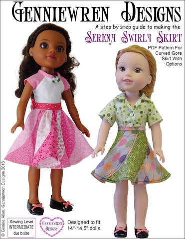 "Serena Swirly Skirt 14-14.5"" Doll Clothes Pattern"