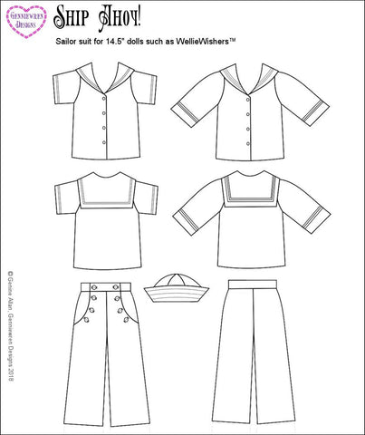 "Ship Ahoy 14.5"" Doll Clothes Pattern"