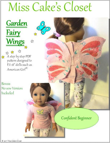 "Miss Cake's Closet 18 Inch Modern Garden Fairy Wings 18"" Doll Accessory Pattern Pixie Faire"