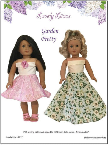 "Lovely Lilacs 18 Inch Modern Garden Pretty 18"" Doll Clothes Pattern Pixie Faire"
