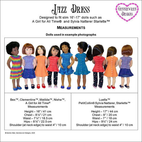 Jazz Dress Knitting Pattern for AGAT and Sylvia Natterer Starlette™ Dolls