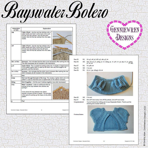 "Bayswater Bolero 18"" Doll Knitting Pattern"