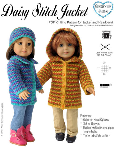 "Genniewren Knitting Daisy Stitch Jacket 18"" Doll Clothes Knitting Pattern Pixie Faire"