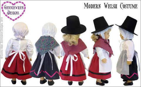 "Modern Welsh Costume 18"" Doll Clothes Pattern"