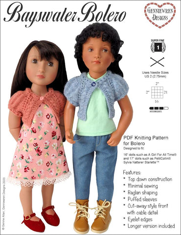 "Bayswater Bolero Knitting Pattern for Slim 16""-17"" dolls"