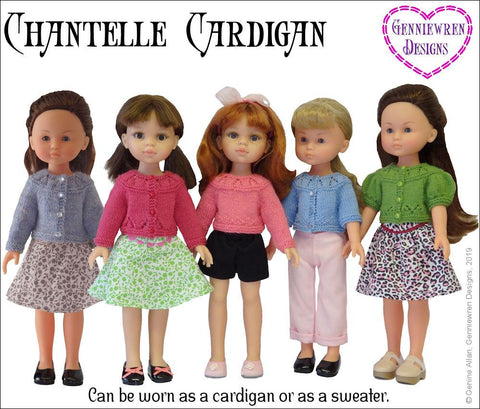 Chantelle Cardigan Knitting Pattern for CLC and Paola Reina Dolls