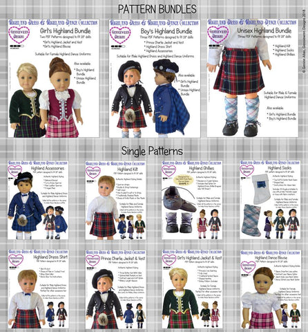 "Girl's Highland Dance Jacket, Vest and Dickey 18"" Doll Clothes Pattern"