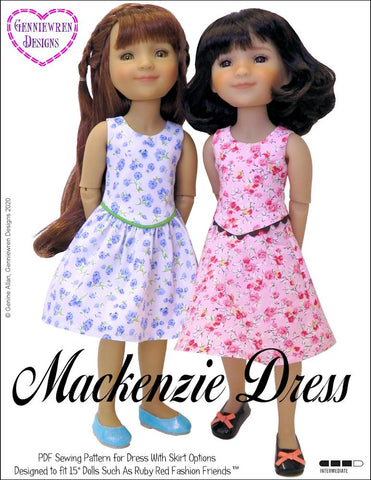 Mackenzie Dress Doll Clothes Pattern for Ruby Red Fashion Friends