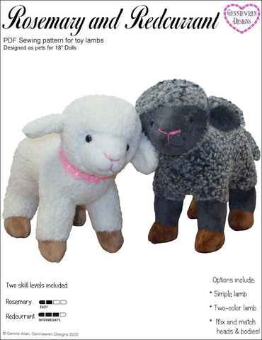 "Genniewren 18 Inch Modern Rosemary and Redcurrant Lamb Pets for 18"" Dolls Plush Pattern Pixie Faire"