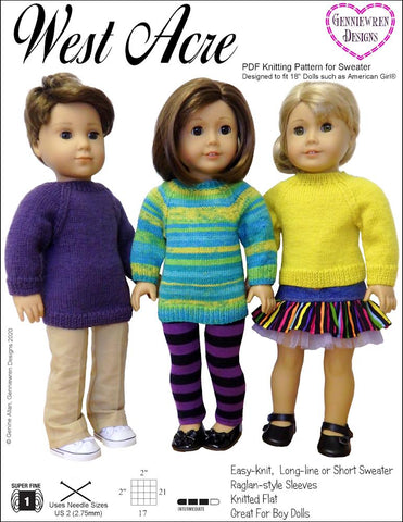 "West Acre Sweater 18"" Doll Knitting Pattern"
