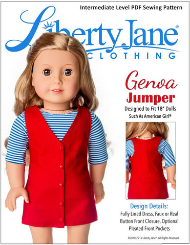 "Liberty Jane 18 Inch Modern Genoa Jumper 18"" Doll Clothes Pattern Pixie Faire"