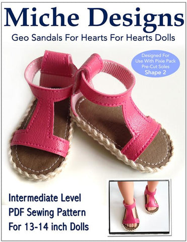 Geo Sandals Pattern for Les Cheries and Hearts for Hearts Girls Dolls