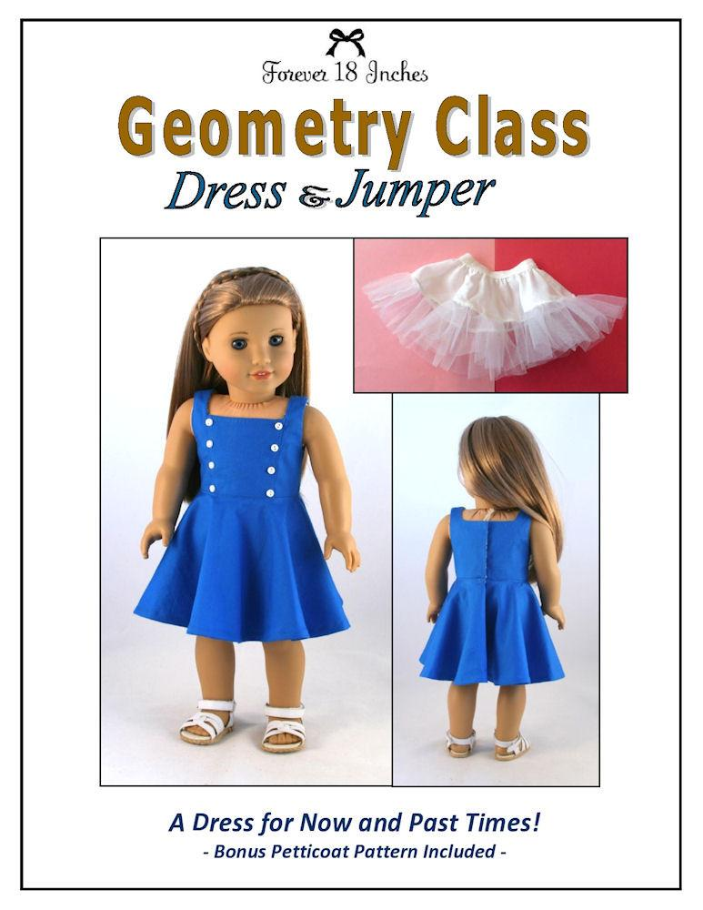 Forever 18 Inches Geometry Class Dress Jumper Doll Clothes Pattern 18 Inch American Girl Dolls Pixie Faire