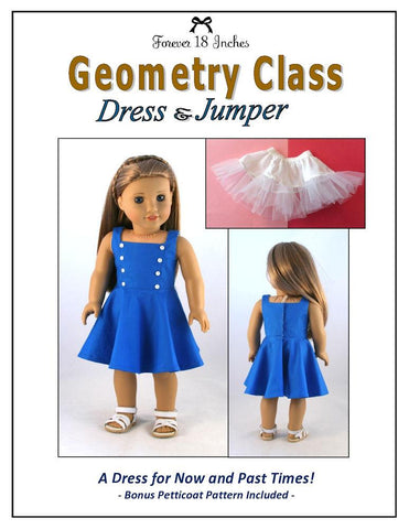 "Geometry Class Dress & Jumper 18"" Doll Clothes Pattern"
