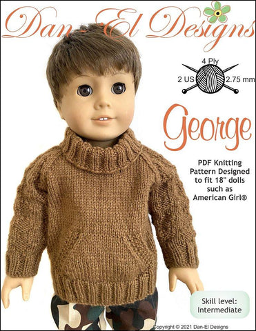 "Dan-El Designs Knitting George 18"" Doll Knitting Pattern Pixie Faire"
