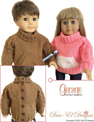 "Dan-El Designs Knitting George 18"" Doll Clothes Knitting Pattern Pixie Faire"