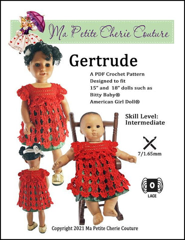 "Gertrude 15""-18"" Doll Clothes Crochet Pattern"