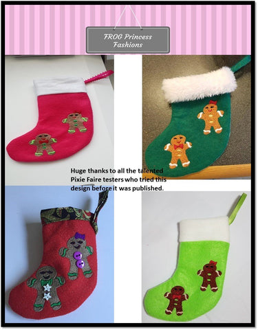 The Gingerbread Dress and Gingerbread Twins Stocking Machine Embroidery Design