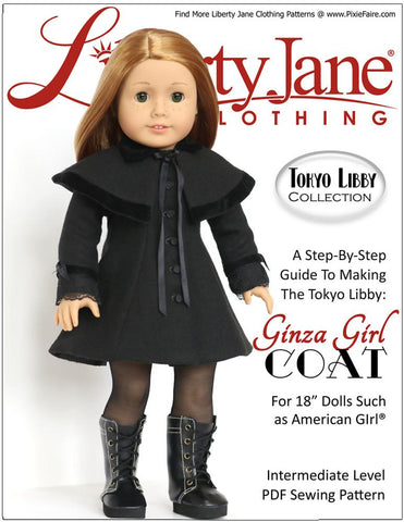 "Liberty Jane 18 Inch Modern Ginza Girl Coat and Capelet 18"" Doll Clothes Pattern Pixie Faire"