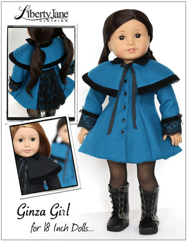 "Ginza Girl Coat and Capelet 18"" Doll Clothes Pattern"