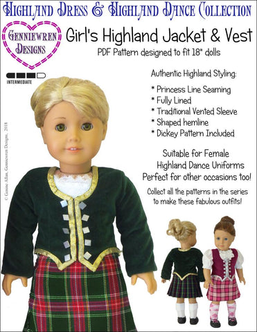 "Genniewren 18 Inch Modern Girl's Highland Dance Jacket, Vest and Dickey 18"" Doll Clothes Pattern Pixie Faire"