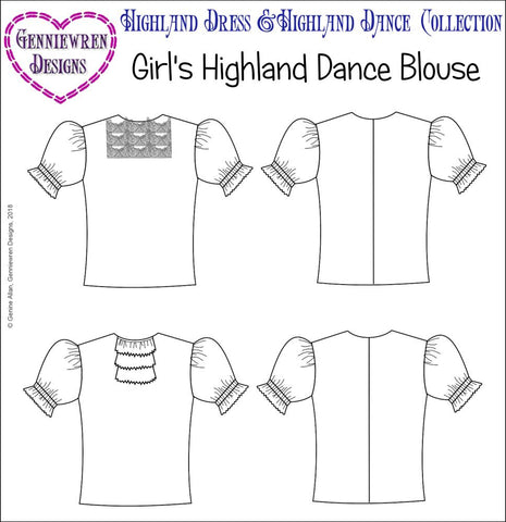 pdf doll clothes pattern Genniewren Highland Dance Blouse designed to fit 18 inch American Girl dolls