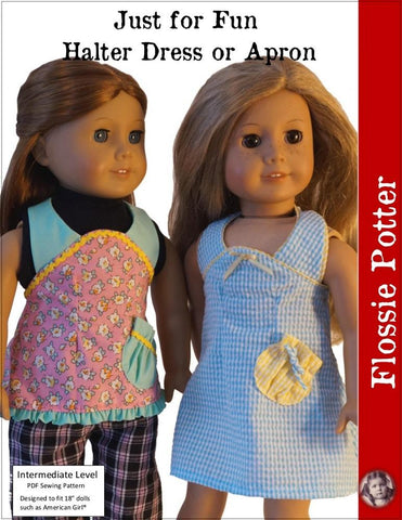 "Just for Fun Halter Dress or Apron 18"" Doll Clothes"