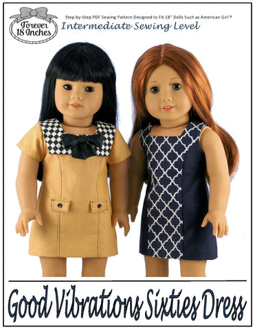 "Good Vibrations Sixties Dress 18"" Doll Clothes Pattern"