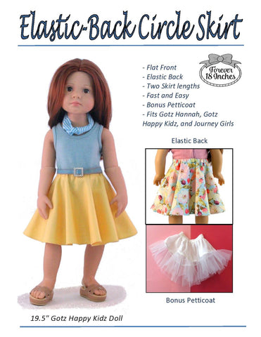 "Elastic Back Circle Skirt for 18"" Journey Girls and 19"" Gotz Dolls"