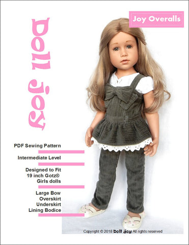 pdf doll clothes sewing pattern Doll Joy overalls designed to fit 19 inch Gotz dolls