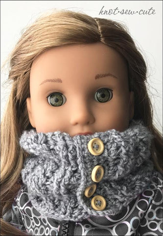 "Cabled Cowl 18"" Doll Crochet Pattern"