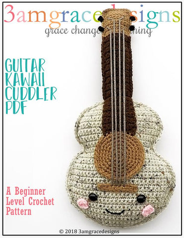 PDF amigugumi crochet pattern guitar kawaii cuddler 3amgracedesigns