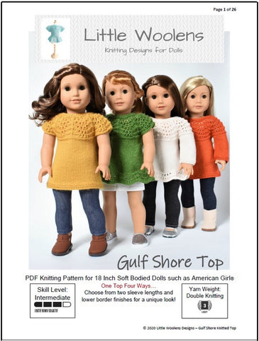 "Gulf Shore Top 18"" Doll Clothes Knitting Pattern"