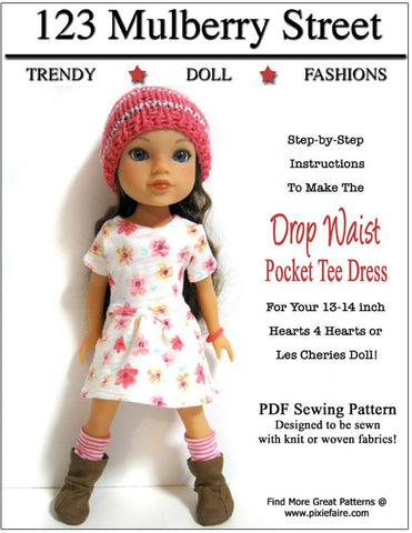 Drop Waist Pocket Tee Dress Pattern for Les Cheries and Hearts for Hearts Girls Dolls