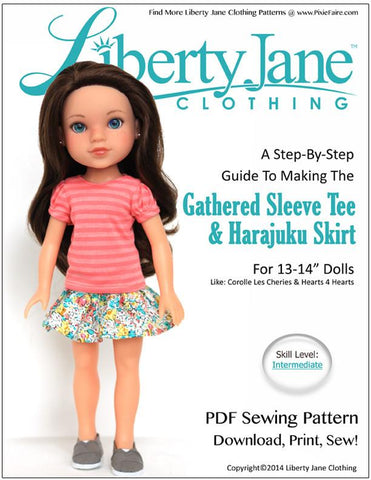Gathered Sleeve Tee and Harajuku Skirt for 13 - 14 Inch Dolls