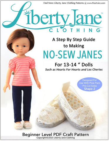 Liberty Jane H4H/Les Cheries No Sew Janes Shoes for Les Cheries and Hearts for Hearts Girls Dolls Pixie Faire