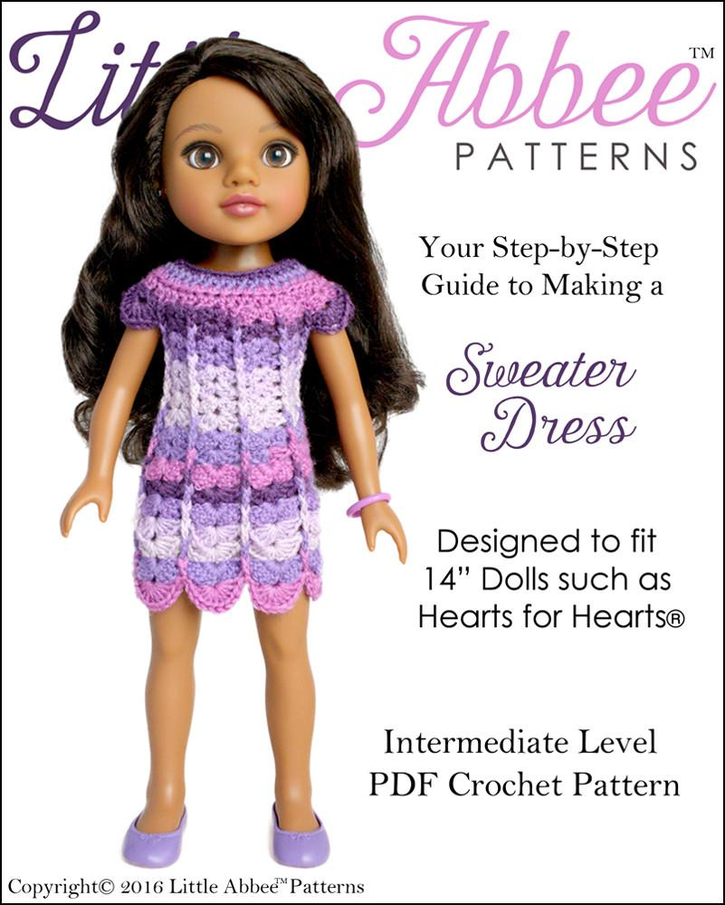 Little Abbee Sweater Dress Doll Clothes Pattern 14 inch Hearts For ...