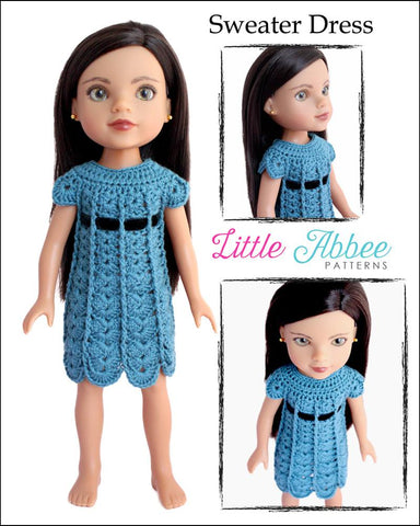 Sweater Dress Crochet Pattern for Les Cheries and Hearts for Hearts Dolls