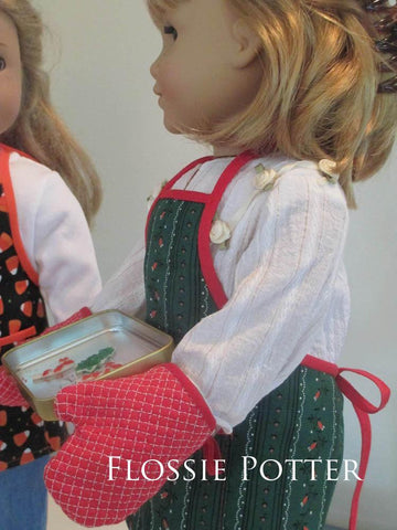 Holiday Baker Apron and Oven Mitts 18' Doll Clothes