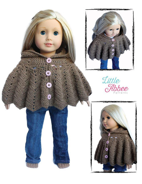 Little Abbee Hooded Chevron Cape Doll Clothes Crochet