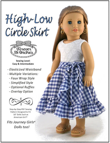 "Forever 18 Inches 18 Inch Modern High-Low Circle Skirt 18"" Doll Clothes Pixie Faire"